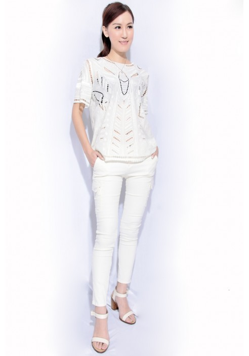 embroidered silk top