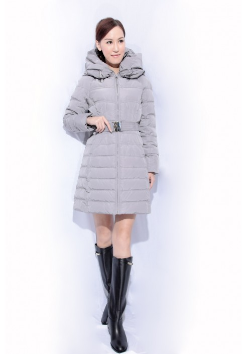 belted long down jacket