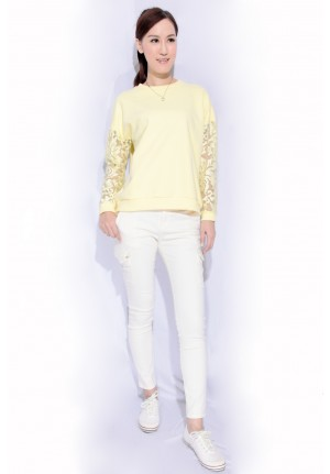 tee with lace sleeves