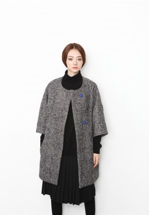 shepherd check round neck wool coat